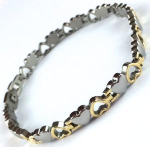 Titanium 2 Hearts Polished Bracelet