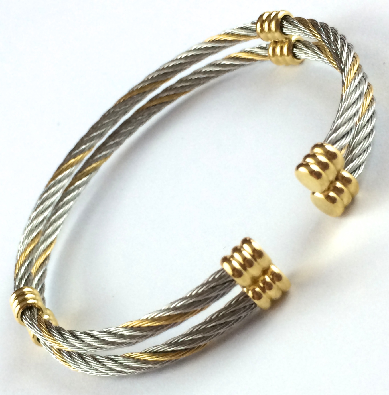 HowTheBandWorks.com – Stainless 2 Wire Cable Bangle w/Gold Accents