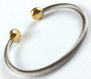 Stainless Cable Bangle w/Saucer Gold Ends