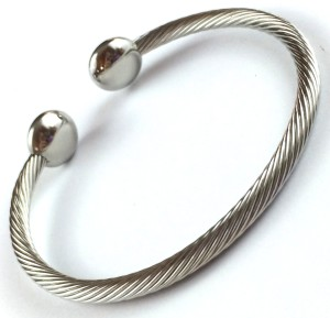 Stainless Cable Bangle w/ Silver Ends