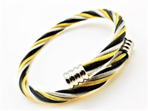 Stainless Three-Toned Cable Bangle