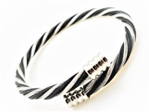 Stainless Black & Silver Cable Bangle