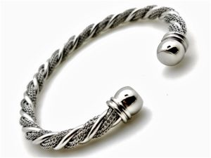 Stainless Cable Dress Bangle w/ Silver Colored Ends