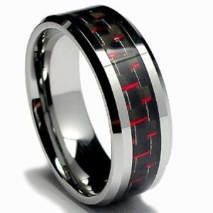 Tungsten Black & Red Carbon Fiber Inlay